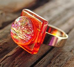 Fused glass ring - orange and pink!