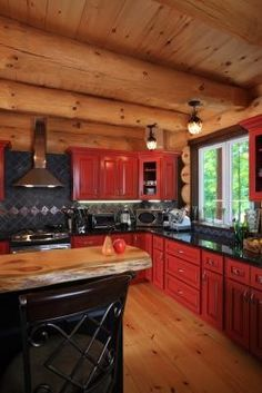 Kitchen Cabinets Red red country kitchen | country woodworkers - kitchen gallery of
