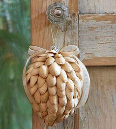 pistashio christmas ornament...finally a use for all the pistashio shells