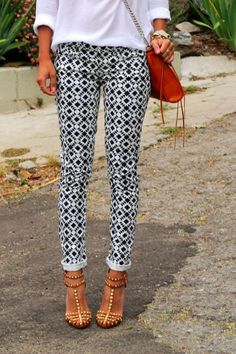 Patterned pants - like the pattern paired with a simple white shirt and nude heels.