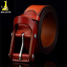 Item Type: Belts Belt Width: 3.8 cm Pattern Type: Solid Department Name: Adult Brand Name: MILUOTA Style: Fashion Gender: Men Buckle Length: 9 cm Belts Material: Metal Belts Material: Cowskin Buckle W