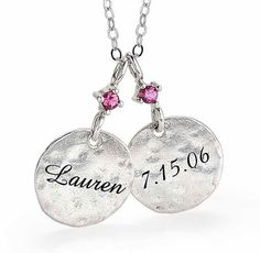 First Mothers Day Gift:  Love this hand-stamped necklace with the baby's name and birthstone!  It comes in silver or gold (which is what I want).