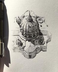Drawing Urban Architecture on a Sketchbook – Zeichnungen / III – - New Sites Interior Architecture Drawing, Architecture Drawing Sketchbooks, Urban Architecture, Drawing Sketches, Art Drawings, Drawing Ideas, Drawing Drawing, Amazing Drawings, Sketch Design