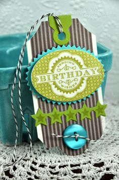 PTI Tag Sale #6, 2012 Birthday Tags, Limitless Ovals, Super Star Border, Super Stars. Love the colors on this.
