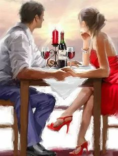 Paint By Number Kit - Romantic Couple Drinking Wine. A Great Christmas Gift! by OurPaintAddictions Couple Painting, Wine Painting, Couple Art, Couple Pictures, Romantic Paintings, Beautiful Paintings, Romance Arte, Photos Amoureux, Mode Poster