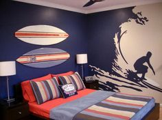 Personalizing Boys Bedrooms with Decorating Themes, 22 Boy Bedroom Ideas Surf Bedroom, Teen Bedroom, Bedroom Wall, Funky Bedroom, Blue Bedroom, Bedroom Colors, Dream Bedroom, Boys Bedroom Themes, Bedroom Decor