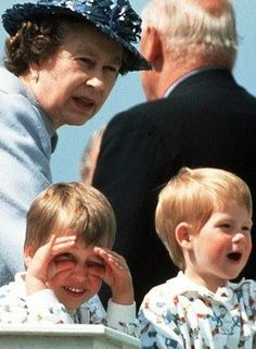 Prince William and Harry with their grandmother, The Queen. WOW!