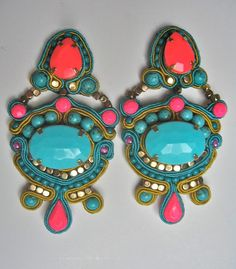 soutache earrings in neon pink and turquoise