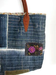 Borsa a mano cucita borsa indaco patchato con di avivaschwarz
