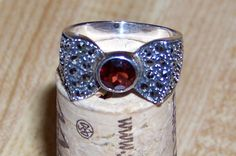 Vintage Sterling Silver Garnet and Marcasite Bow Ring - after discount, $34