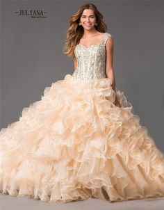 6c4ba5a2ca Aliexpress.com   Buy Juliana Elegant Organza Ball Gown Quinceanera Dresses  2017 with Beaded Lace up weet 16 Dresses Ruffles Vestido De 15 Anos QA944  from ...