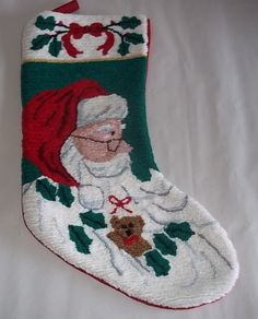 Needlepoint Santa Claus Completed Stocking New without tag
