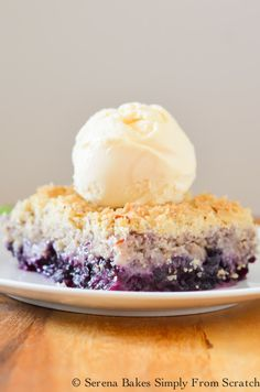 Easy to make Blueberry Crisp is a family favorite from Serena Bakes Simply From Scratch.