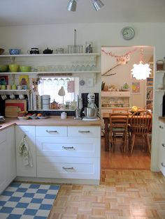 Ikea kitchen - open shelving LIKE THE CABINETS WE'D GET A BETTER DARKER TOP