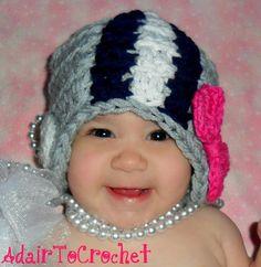 Go Dallas Cowboys! Crocheted Baby Football Helmet For Girls.By AdairToCrochet