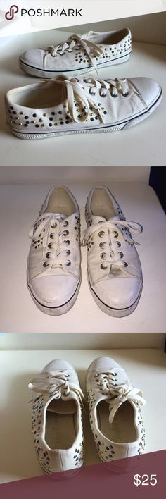 White Studded Sneakers Juicy couture white studded sneakers inspired by converse! Very cute and trendy Juicy Couture Shoes Sneakers