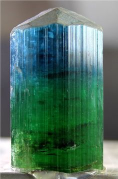 60 Gram Top Quality Unique Deep Blue & Neon Green Color TOURMALINE Crystal @ AFG
