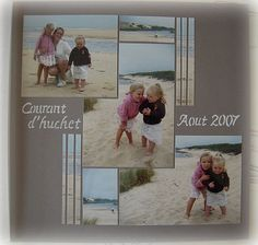layout idea/overlap and sliced photos Beach Scrapbook Layouts, Scrapbook Examples, Vacation Scrapbook, Scrapbook Templates, Wedding Scrapbook, Baby Scrapbook, Scrapbooking Layouts, Scrapbook Cards, Studio Scrap