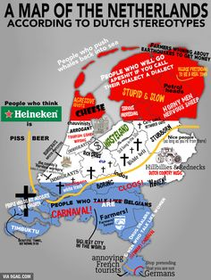 Map of Dutch stereotypes, another but different map from stereotypes within the Netherlands. New Memes, Funny Memes, Hilarious Jokes, Funniest Memes, Fun Funny, Funny Gifs, Funny Videos, Dutch Netherlands, Netherlands Facts