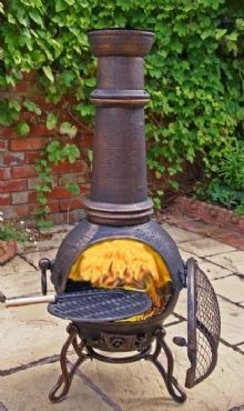 Exceptional Stay Toasty On Cool Spring And Summer Evenings With This Gardeco Bronze  Cast Iron Chiminea Burner