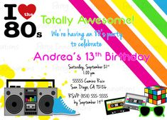Printable 80's theme party Invitation by PartyInnovations09, $10.00