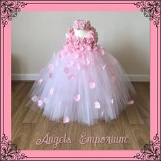 Stunning dress for young girls. 3 layers of quality soft nylon tulle flows from the chest down. Adjustable satin ribbon and Baby Girl Party Dresses, Girls Tutu Dresses, Gowns For Girls, Tutus For Girls, Birthday Dresses, Princess Tutu Dresses, Flower Girl Tutu, Flower Girl Dresses, Light Pink Flowers