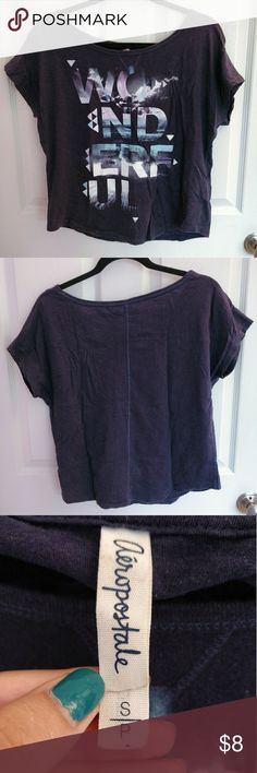 """""""Wonderful"""" Indigo Graphic Top Cool indigo top from Aeropostale with blue/purple graphic text that says """"Wonderful"""" (spaced out over 4 lines). Pre-loved, from a smoke- and pet-free home Aeropostale Tops Tees - Short Sleeve"""
