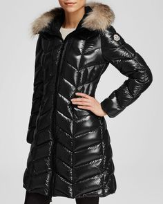 Moncler Bellette Hooded Down Coat with Fur Trim