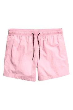 Short swim shorts with an elasticated drawstring waist, side pockets and a welt back pocket with a hook and loop fastening. Shorts Rosa, Light Blue Dress Shirt, Light Pink Shorts, Monokini, Bermuda Short, Vertical Striped Dress, Large Men Fashion, Moda Emo, Bathing Suits