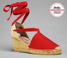 Red High Wedge Espadrilles with laces | Vibrant summer lace-up shoe for women | Handmade in Spain