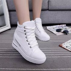 Athletic High Top Sneakers Womens Lace Up Wedge Platform Ankle Boots  Trainers Sz