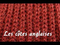 """Côte anglaise ou """"Point de brioche"""" Point de tricot facile - YouTube"""