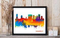 Nashville Skyline Nashville Tennessee by InstantDownloadArt1