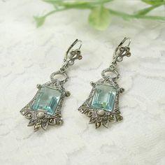 Vintage Marcasite Earrings With Paste Aquamarine СИНТЕЗИРОВАННЫЙ АКВАМАРИН