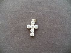 $5.00 Silver Cross with 6 Stones (71915-1227) jewelry, collectibles, silver