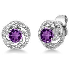 February Amethyst Flower Sterling Silver Stud Earring | $160.00 | #feburary #diamond #earrings #ss #birthstone #Amethyst #SterlingSilver #Earring