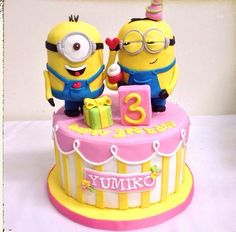 Adorable Minion Cake via liasugarland on Instagram