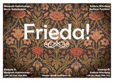 Calling-card design for Frieda, an all-female Austro-German vintage band Calling Card Design, 49er, Calling Cards, Graphic Design Projects, German, Tapestry, Band, Female, Vintage