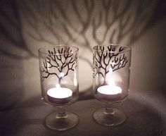 Hand Painted Tree Tea Light Candle Holders by NorthBeachCrafts, $10.00