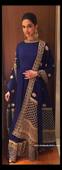Deepika Padukone Blue Floor Length Anarkali