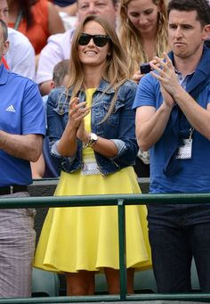 Pin for Later: Kim Murray's Going to Bring Us Some Grand-Slam Maternity Style  Foreshadowing, perhaps? Earlier on in the tournament, Kim forecasted a sunny outlook in a bright yellow dress and jean jacket.