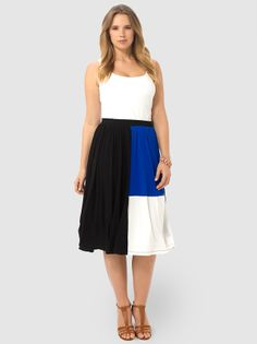 Midi Skirt In Color Block by ASOS Curve,Available in sizes 14/16,18/20 and 22/24