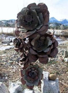 metal flower garden art sculpture