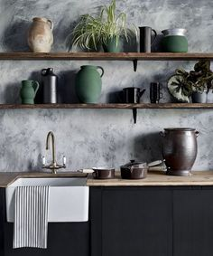 Trending: Rough Textured Walls | Centsational Style Kitchen Paint, Kitchen Design, Kitchen Cabinets, Textures Murales, Venetian Plaster Walls, Cosy Kitchen, Taupe Kitchen, Dark Color Palette, Colour Palettes