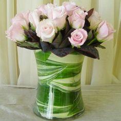 Valentine's Day Arrangement, Dozen Pink Roses in Glass Gathering Vase Wholesale Flowers & Supplies