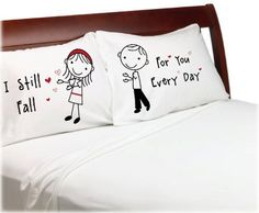 """Stick People"" Valentine's Day Falling in Love Pillowcases Anniversary Pillow Cases Couples Pillowcases Wedding, Anniversary, Romantic Gift Idea for Him or Her Cute Stick Figures. Custom-PillowCases-by-StockingFactory #valentinesday #valentinesdaygiftideasforcouples"