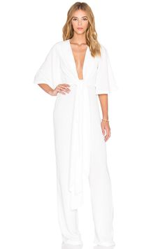 For the fashionista bride: AQ/AQ Stefan Jumpsuit in white by @revolveclothing