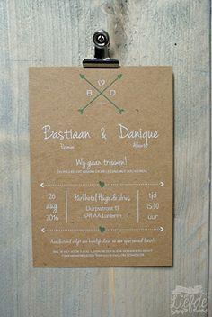Kraft trouwkaart - Bastiaan & Danique