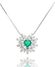 colar coração esmeralda cristal com banho de rodio semi joias modernas