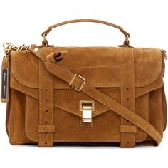 Proenza Schouler Tobacco Suede Medium PS1 Satchel ($1,550) ❤ liked on Polyvore featuring bags, handbags, satchel purse, brown purse, zip zip satchel, brown satchel handbags and proenza schouler purse
